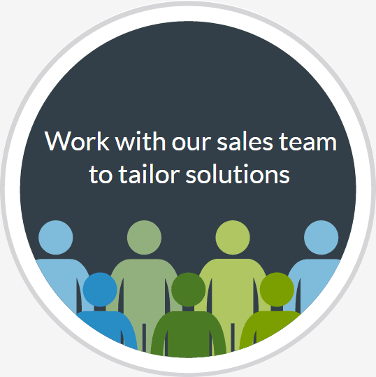 Work with our sales team to tailor solutions