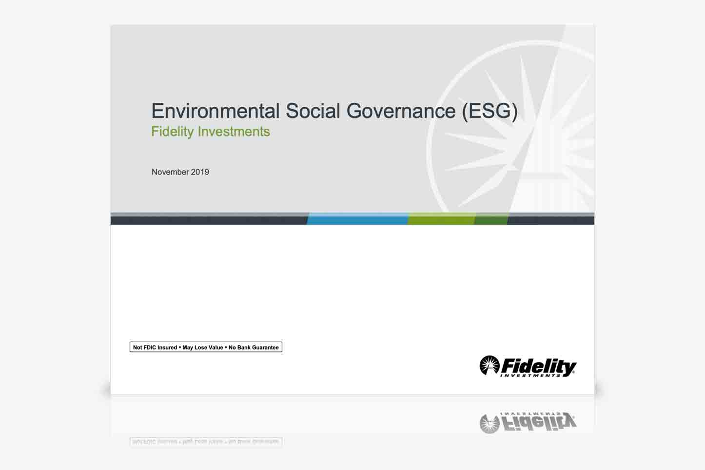 Learn More About Fidelity and ESG Investing